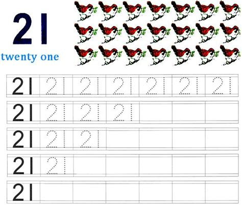 printable worksheet on number 21 are for learning