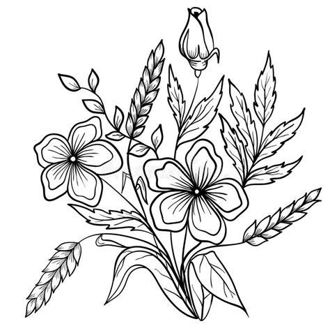 regeling zwart witte bloemen de tekening het overzicht vector illustratie illustratie