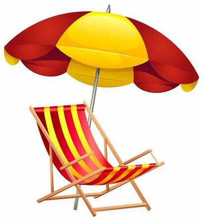 Beach Clip Chair Umbrella Clipart Summer Vacation