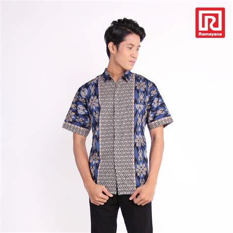 beli ramayana rama batik kemeja batik pria lengan pendek katun biru batik rama 07972713