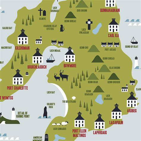 map of islay whisky distilleries print by finch and robin ...