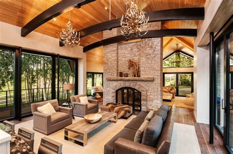 aspen modern mountain great room with fireplace modern living room denver by in