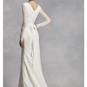 vera wang white by vera wang long sleeve lace wedding With long sleeve wedding dresses vera wang