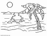 Coloring Beach Summer Sunset Zum Paisaje Malvorlagen Mewarnai Gambar Paisajes Ocean Sheets Sheet Colorear Pemandangan Dibujos Palm Printable Palmen Palme sketch template