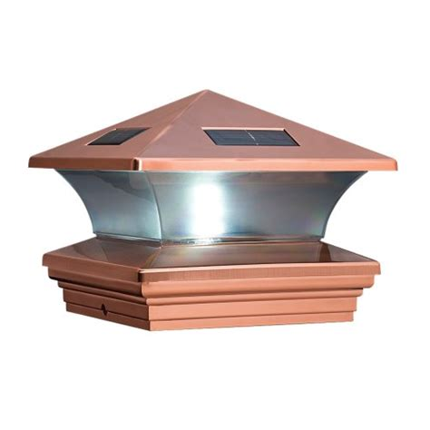 6x6 Lighted Deck Post Caps by Mcfarland Cascade Terratec Solar Post Cap Copper Fits
