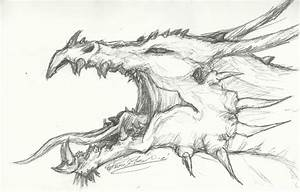 Roaring Dragon Head Sketch by ~ThousandWordsToSay on ...