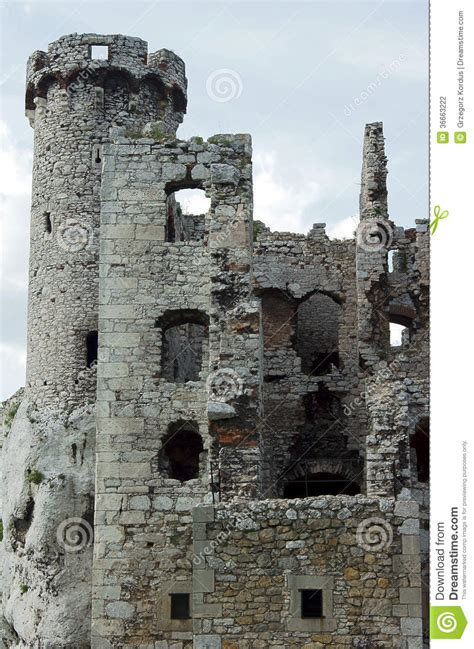 turret ruined castle stock photo image  silesia ruin