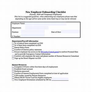 new hire checklist sample 13 documents in pdf With employee onboarding documents