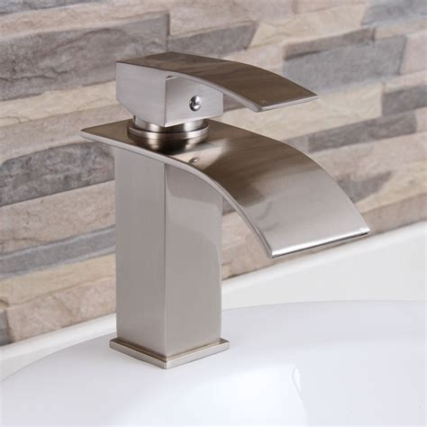 elite modern bathroom sink waterfall faucet brushed nickel