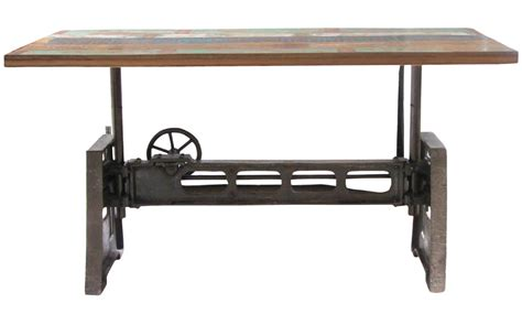 Reclaimed Wood and Iron Adjustable Dining Table Furniture   Mix Furniture