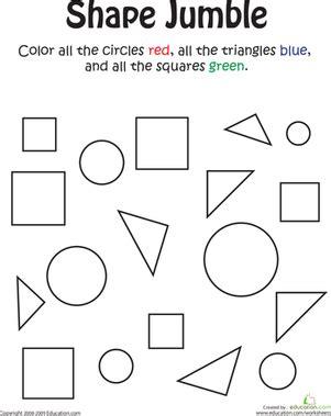 shape jumble school kindergarten math worksheets shapes worksheet kindergarten