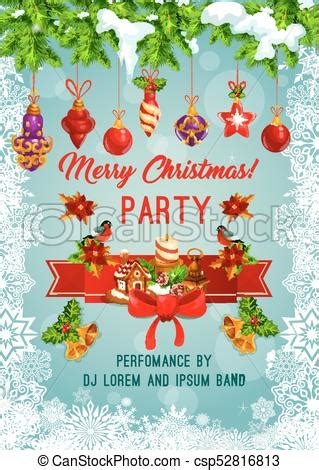 Merry christmas holiday party vector poster Merry
