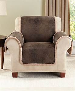 Sure fit vintage faux leather with sherpa pet chair cover for Leather furniture covers for dogs