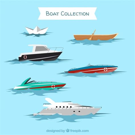 Types Of Boats Engines by Set Of Different Types Of Boats Vector Free