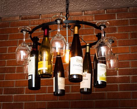 wine glass bottle chandelier wine rack light lighting wine