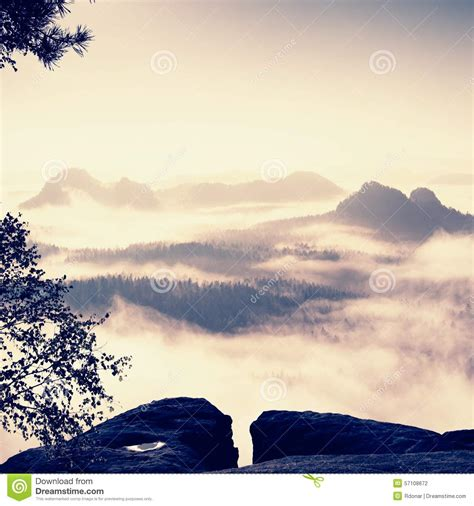 Fantastic View To Mountains And Fog. Royalty-free Stock