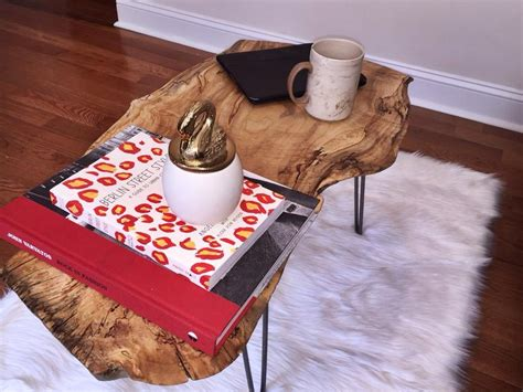 Many folks choose to stain and apply a clear coat finish to protect raw wood. Live Edge Wood Slab Coffee Table w/ Raw Hairpin Legs ...