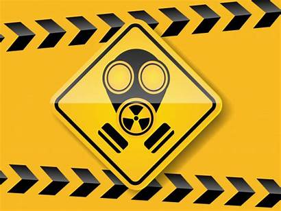 Mask Gas Yellow Background Toxic Warning Vector