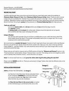 Reverse Osmosis System Installation Instructions