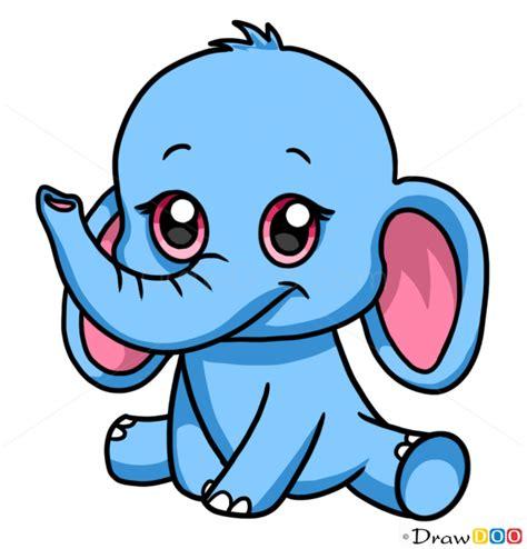 draw baby elephant cute anime animals
