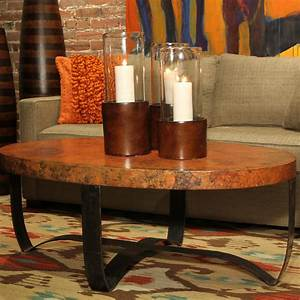Oval strap cocktail table with copper top traditional for Oval copper coffee table