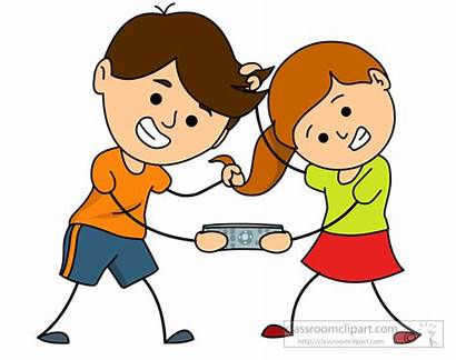 Brother Sister Clipart Fighting Siblings Remote Fight