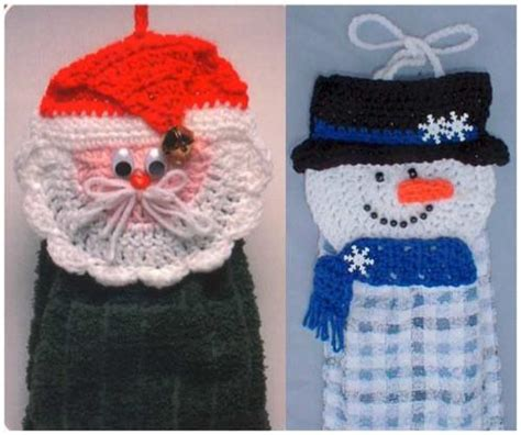 santa  snowman towel toppers crochet pattern maggies