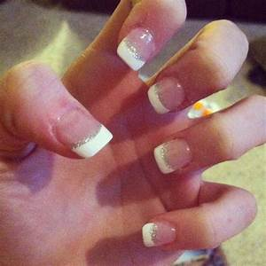 love love love these nails! French tip with sparkle and ...
