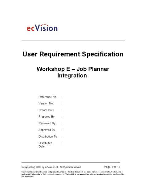 User Requirement Specification | Trademark | Specification