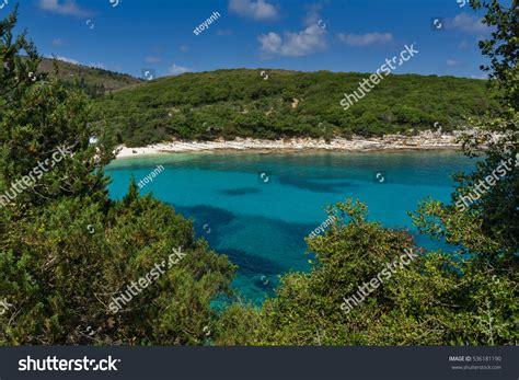 Amazing Panorama Emblisi Fiskardo Beach Kefalonia Stock