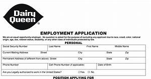Dairy Queen Job Application - Printable Job Employment Forms