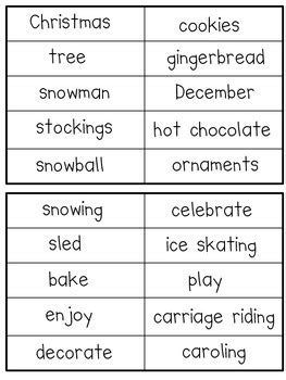 sorting adjectives nouns and verbs christmas theme by stephenson