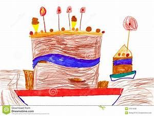 Gateau Anniversaire Dessin Animé : le retrait des enfants grand g teau d 39 anniversaire de dessin anim illustration stock ~ Melissatoandfro.com Idées de Décoration