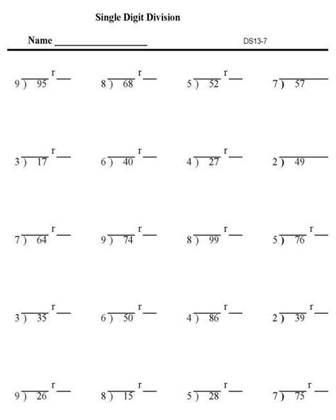 division printables division worksheets single digit