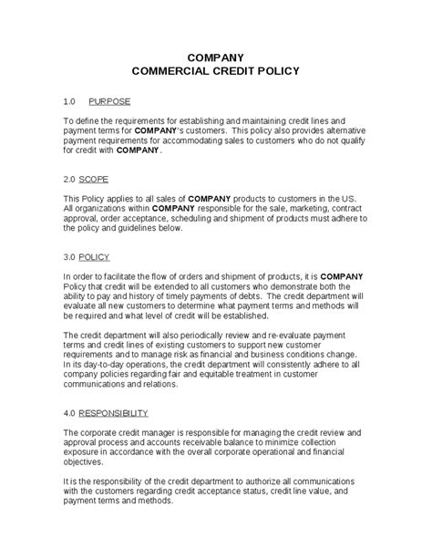 Change Policy Template by Credit Policy Template 154 Useful Templates
