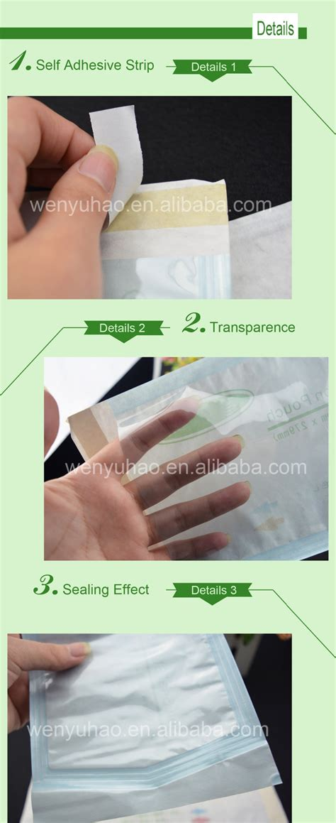 seal sterilization pouch  side clear paper custom printing packing plastic bag buy