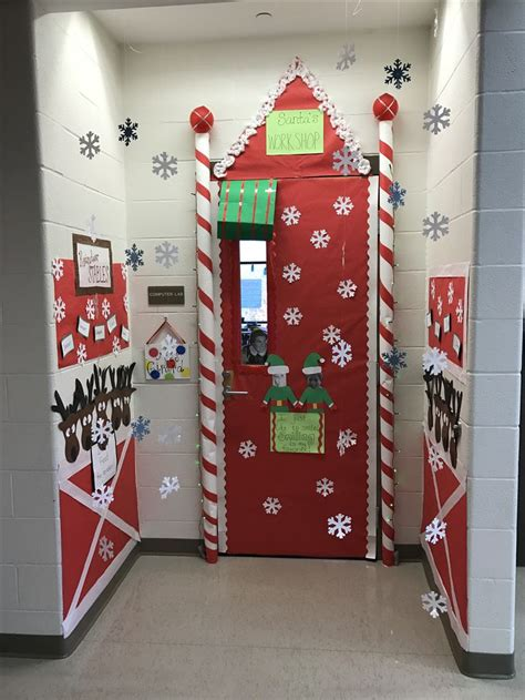 school door christmas decorating ideas best 25 santas workshop ideas on office
