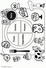Coloring Healthy Printable Sheet Unhealthy Groups Dairy Protein Colouring Clipart Breakfast Pyramid Rocks Worksheet Popular sketch template