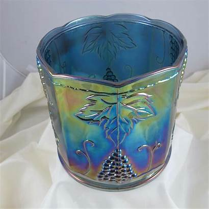 Carnival Glass Indiana Grape Harvest Canister