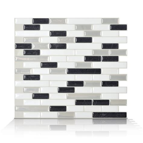 Peel And Stick Subway Tile Canada by Smart Tiles 6 Pack White Glossy Composite Vinyl Mosaic