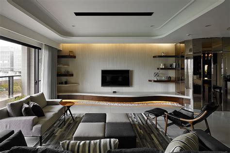interior design livingroom contemporary taiwan apartment showing luxury and