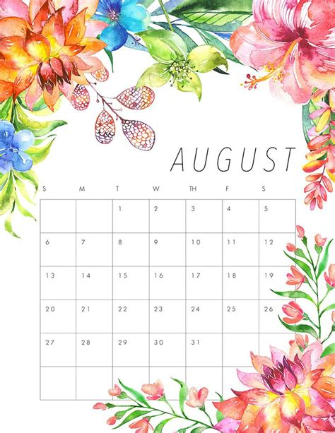 august calendar cute calendar weekly printable