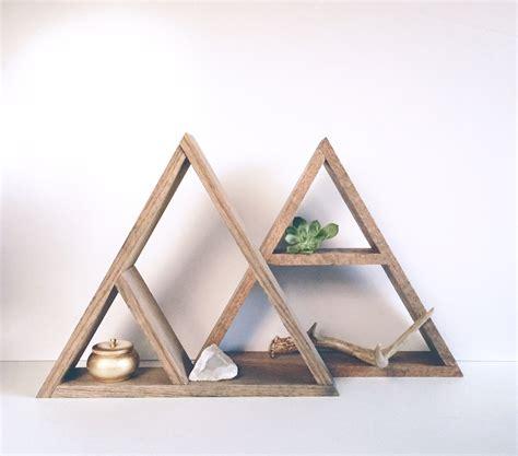 Hand Stained Triangle Wood Shelf Home Decor Storage Oak Wood