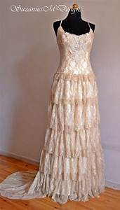 boho wedding dress cream wedding dress lace wedding dress With cream lace wedding dress