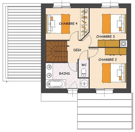 plan maison etage 4 chambres 1 bureau plan maison 3 chambres etage tage maison style