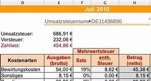 Mehrwertsteuer Berechnen Excel : einnahmen ausgabenrechnung leicht gemacht mit excel oder openoffice dr web ~ Themetempest.com Abrechnung