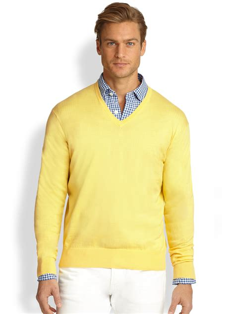 mens v neck sweater lyst polo ralph cotton v neck sweater in yellow