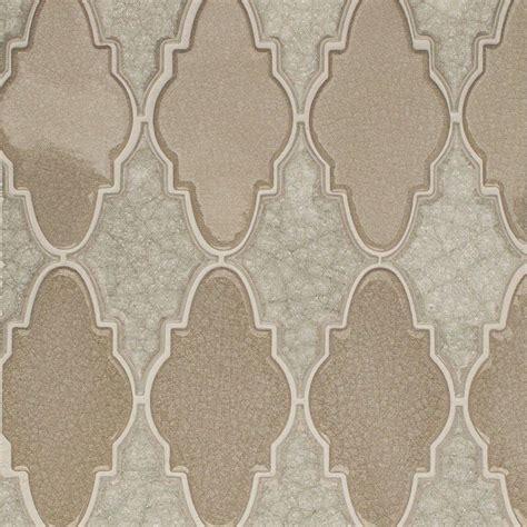 arabesque glass tile splashback tile roman selection iced light cream arabesque 12 1 4 in x 13 3 4 in x 8 mm glass