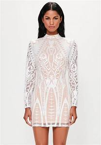 peace love white placed lace high neck mini dress With robe patineuse femme