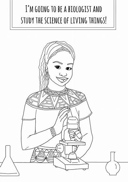 Coloring Pages African American Young She Woman